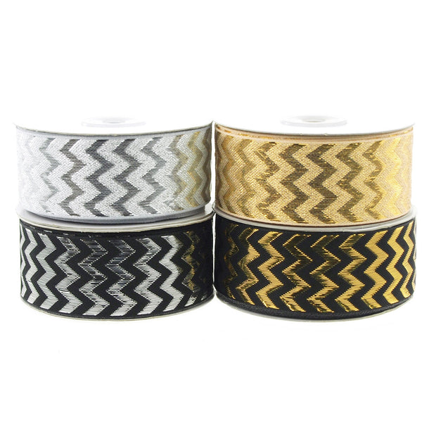 12-Pack, Chevron Ribbon Metallic Shine, 1-1/2-inch, 25-yard