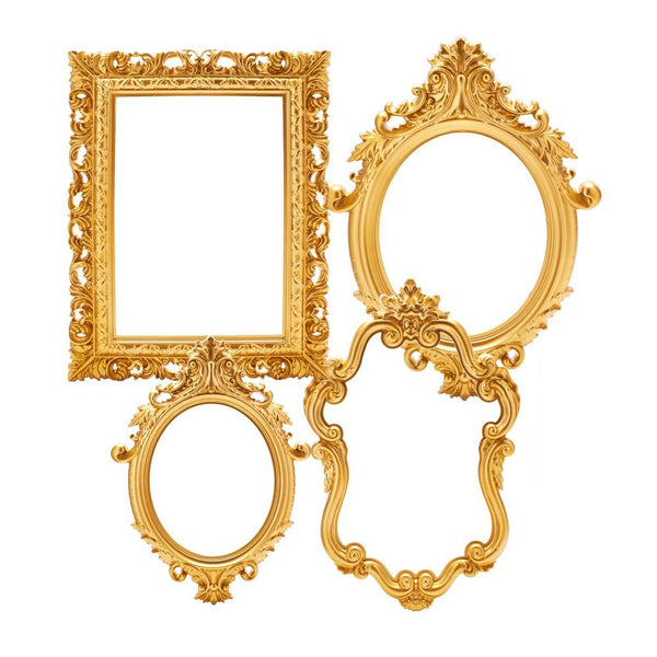 Plastic Royal Baroque Frames, Gold, Assorted Sizes, 4-Piece