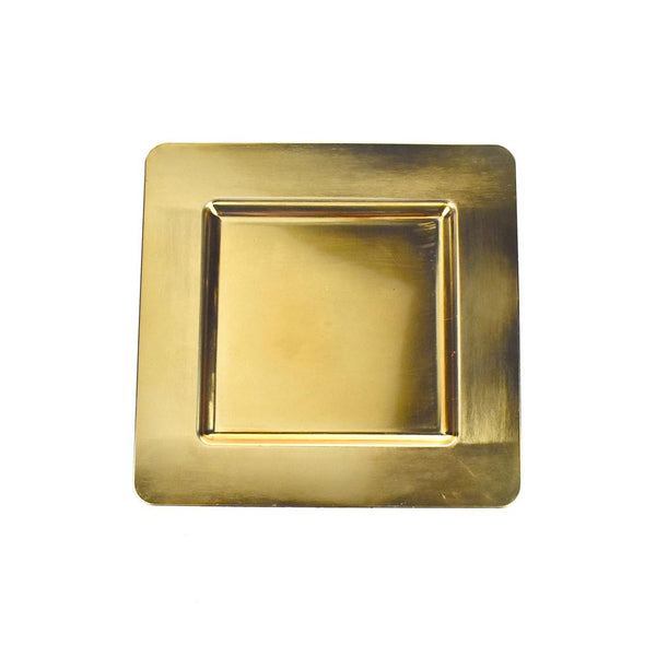 Plastic Square Charger Plate, 13-Inch, Gold, 1-Count