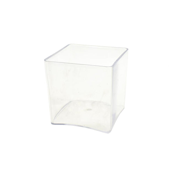 Clear Plastic Square Vase Display, 4-Inch x 4-Inch