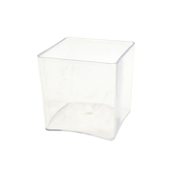 Clear Plastic Square Vase Display, 5-Inch x 5-Inch