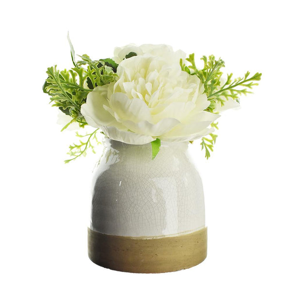 Artificial Peonies and Roses with Pot, 8-Inch