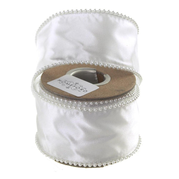 White Pearls Edge Wired Satin Luxury Ribbon, 2-Inch, 5-Yard