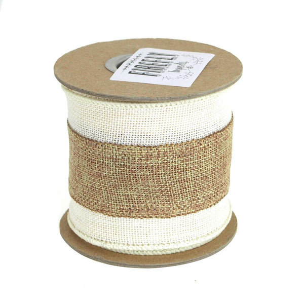 12-Pack, Faux Burlap with Natural Center Wired Edge Ribbon, 3-Inch, 5 Yards