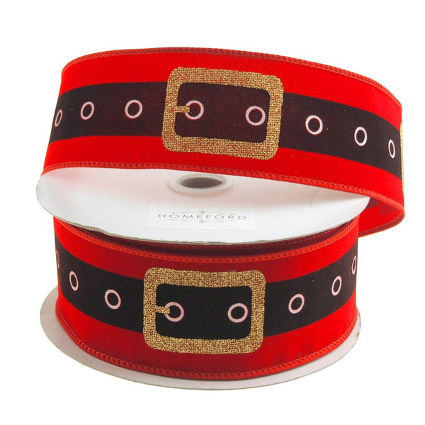 Christmas Santa Belt Velvet Ribbon Wired Edge, 2-1/2-Inch, 20 Yards, Red