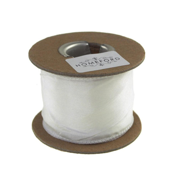 Crinkled Satin Silk Wired Edge Ribbon, 2-Inch, 9-Yard, White