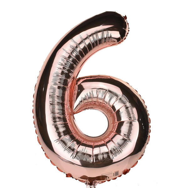 Jumbo Foil Number 6 Balloon, Rose Gold, 34-Inch