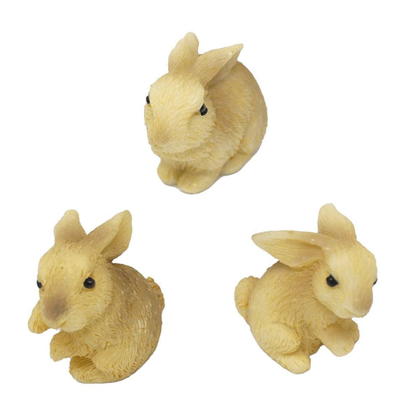 Mini Rabbit Resin Figurines, Assorted Sizes, 3-Piece