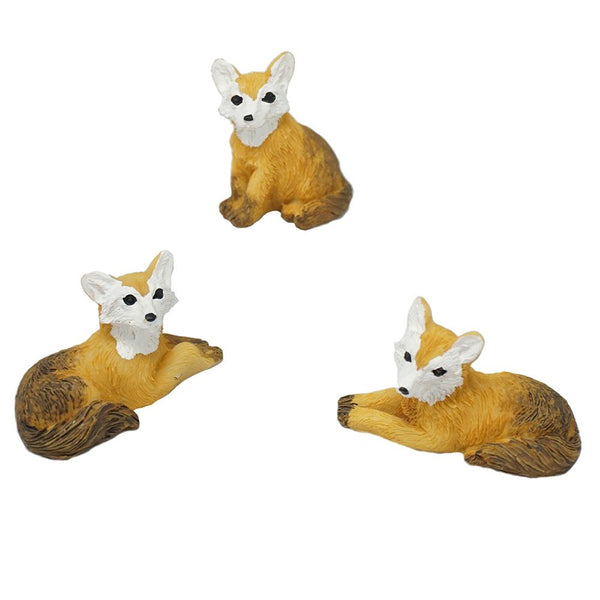 Mini Fox Resin Figurines, Assorted Sizes, 3-Piece