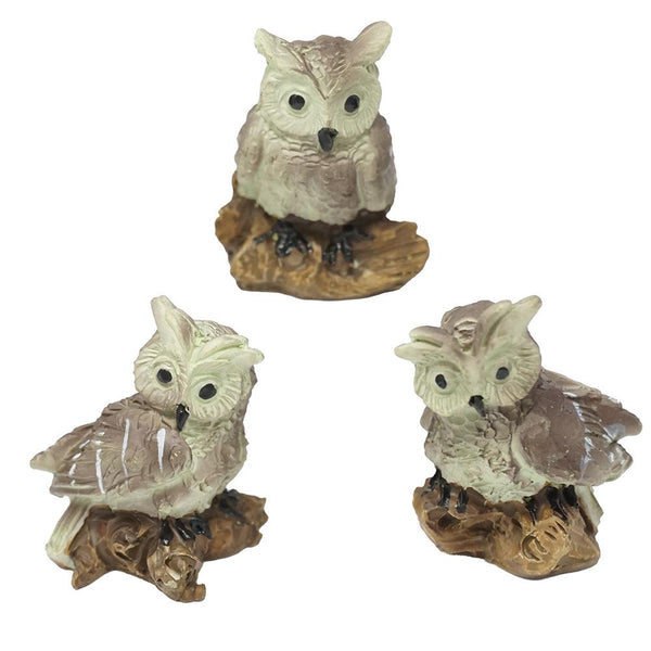 Mini Owl Resin Figurines, Assorted Sizes, 3-Piece