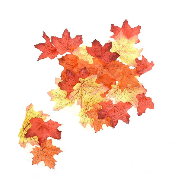 Artificial Autumn Leaves, Red-Orange, 100-Piece