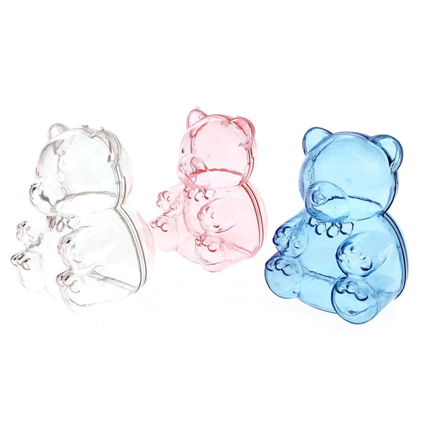 Baby Shower Plastic Teddy Bear Favor Box, 2-1/2-Inch, 12-Count