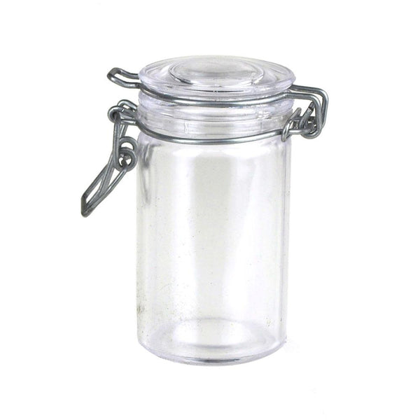 Clear Glass Hinge Locking Lid Candy Jar, 3-Inch, 12-Piece