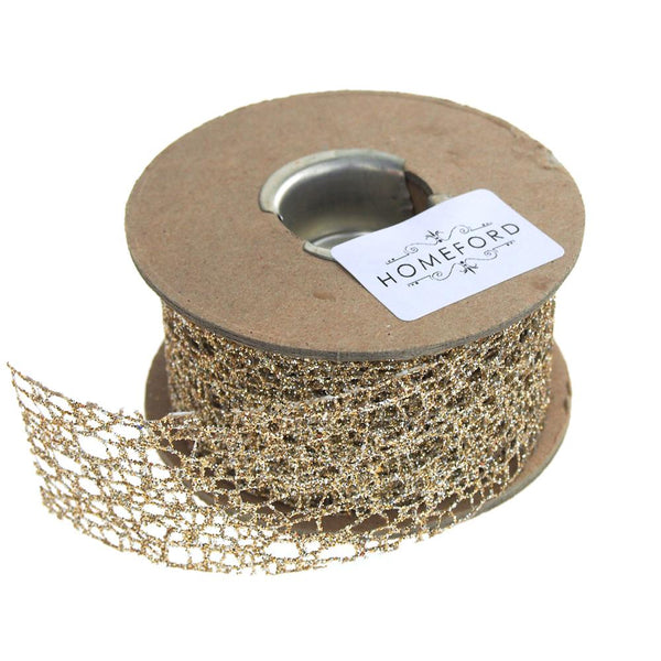 Weave Glitter Christmas Ribbon, 1-1/2-Inch, 9 Yards, Champagne