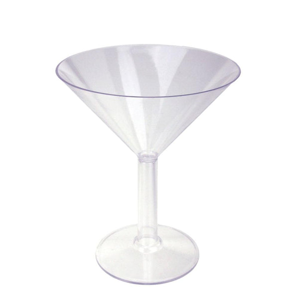 Clear Plastic Martini Glass Cup, Medium, 9-Inch