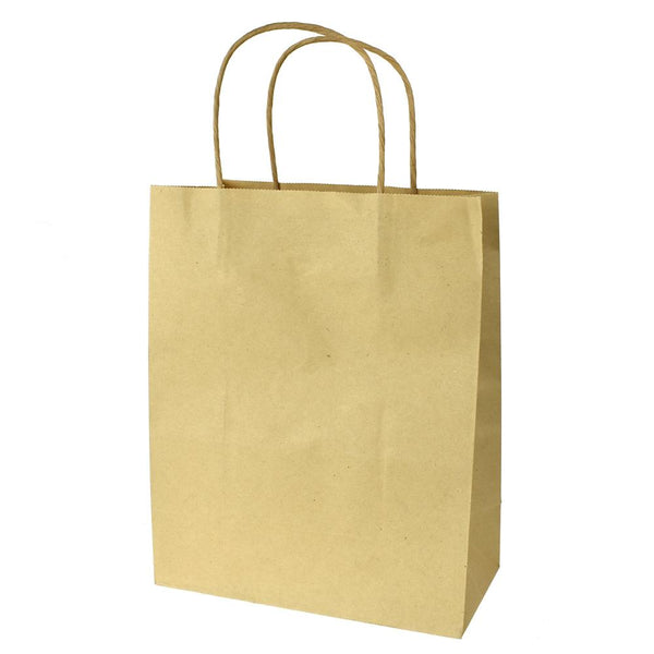 12-Pack, Paper Kraft Bags with Handle, Natural, 9-3/4-Inch, 4-Count