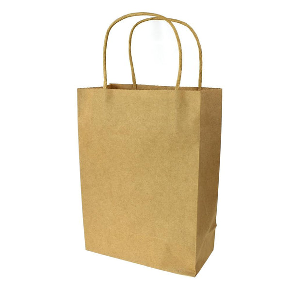 12-Pack, Paper Kraft Bags with Handle, Natural, 9-Inch, 10-Count