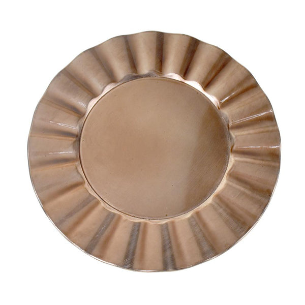 Plastic Round Charger Plate Fan Edge, Rose Gold, 13-Inch, 1-Count