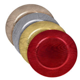 Plastic Round Charger Plate Wood Grain, 13-Inch, Red, 1-Count