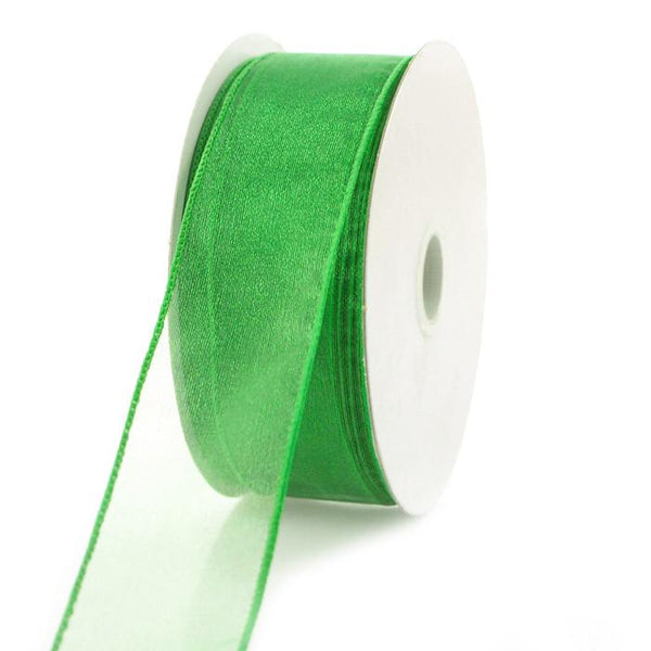 Sheer Chiffon Ribbon Wired Edge, 1-1/2-inch, 25-yard, Emerald Green