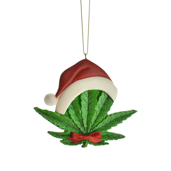 Cannabis Leaf with Santa Hat Ornament, 4-1/4-Inch