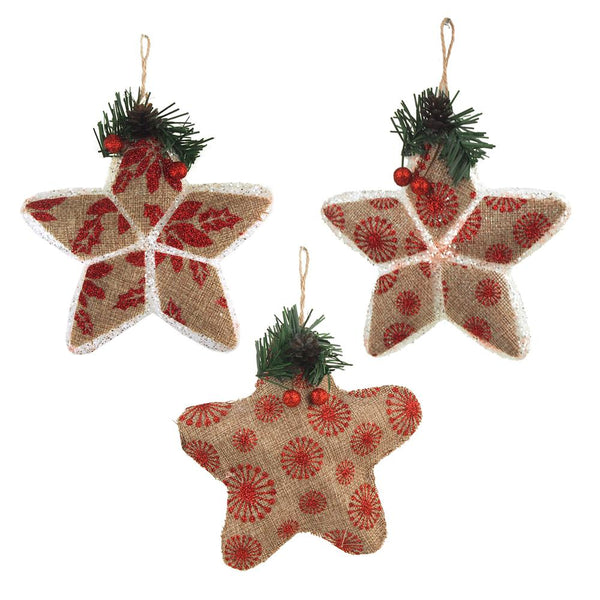 Star Stuffed Burlap Christmas Ornaments, Natural/Red, 5-Inch, 3-Piece