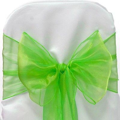 Organza Chair Bow Sash, 9-inch, 10-feet, 6-piece, Apple Green