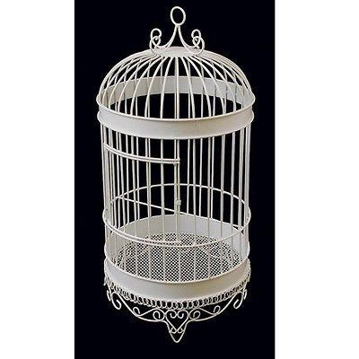 White Metal Wedding Bird Cage Display, 20-1/2-Inch