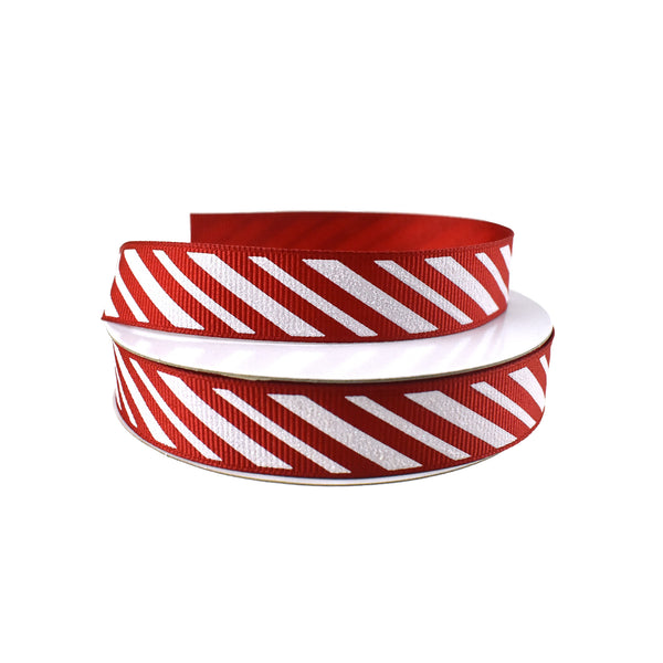 Glittered Candy Cane Stripes Grosgrain Ribbon, 5/8-Inch, 10-Yard