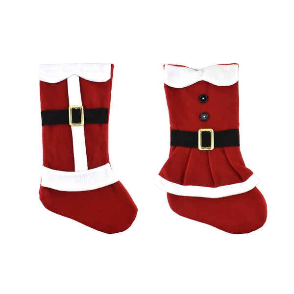 Mr. and Mrs. Claus Santa Fleece Christmas Stockings, 18-Inch, 2-Piece
