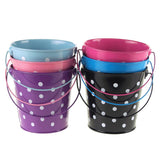 12-Pack, Polka Dot Metal Pail Buckets Party Favor, 5-inch