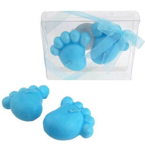 12-Pack, Baby Footprint Floating Candle Favors, 4-1/4-Inch, 2-Piece, Light Blue