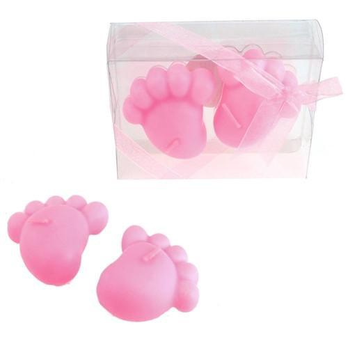 12-Pack, Baby Footprint Floating Candle Favors, 4-1/4-Inch, 2-Piece, Light Pink