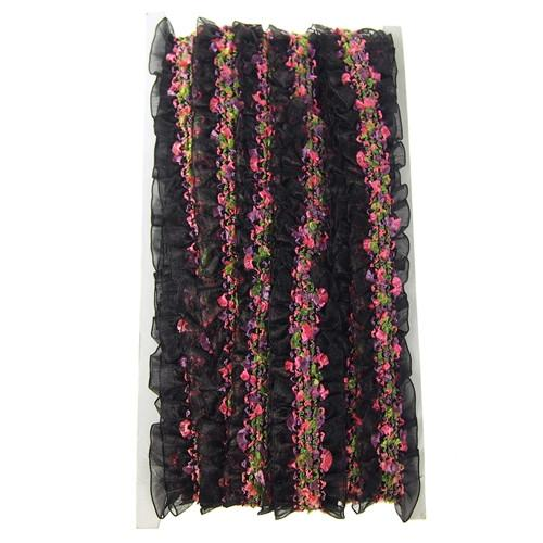 12-Pack, Organza Ruffled Floral Trim, 1-1/2-Inch, 10 Yards, Black