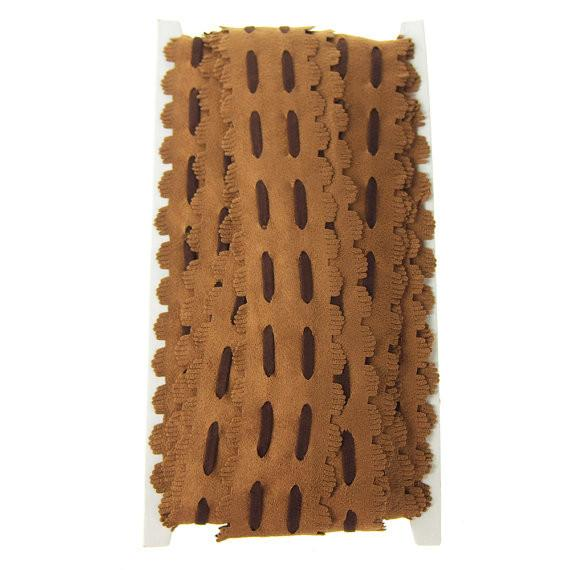 12-Pack, Suede Fringe with Saddlle Stitch, 1-1/2-Inch, 10 Yards, Brown