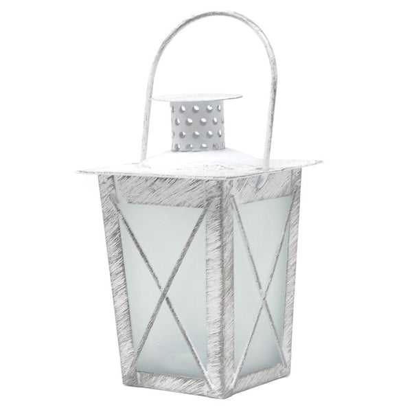 12 Pack, Metal Distressed Lantern Tealight Candle Holder with Handle, White, 4-3/4-Inch
