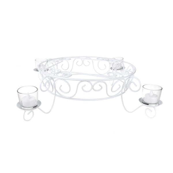 Metal Candlelight Cake Display, White, 13-1/4-Inch