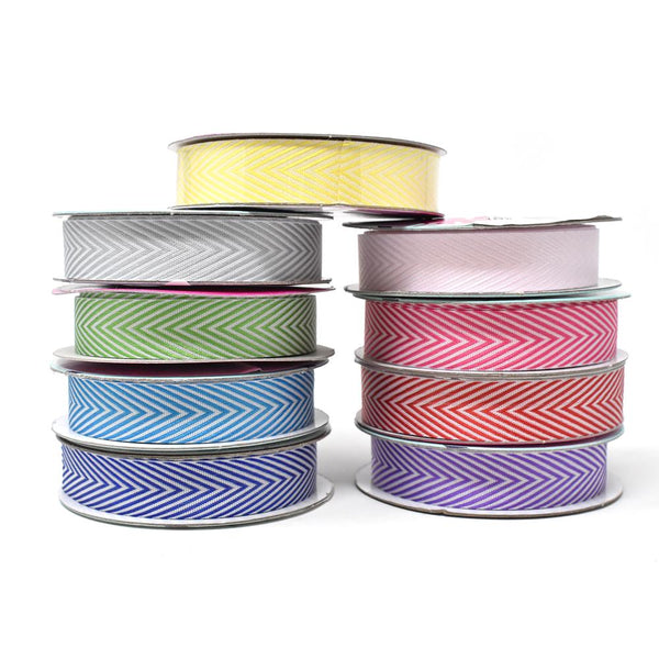 12-Pack, Woven Polyester Herringbone Ribbon, 5/8-Inch, 6-Yard