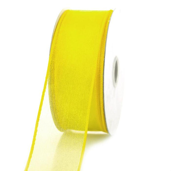 Sheer Chiffon Ribbon Wired Edge, 1-1/2-inch, 25-yard, Daffodil