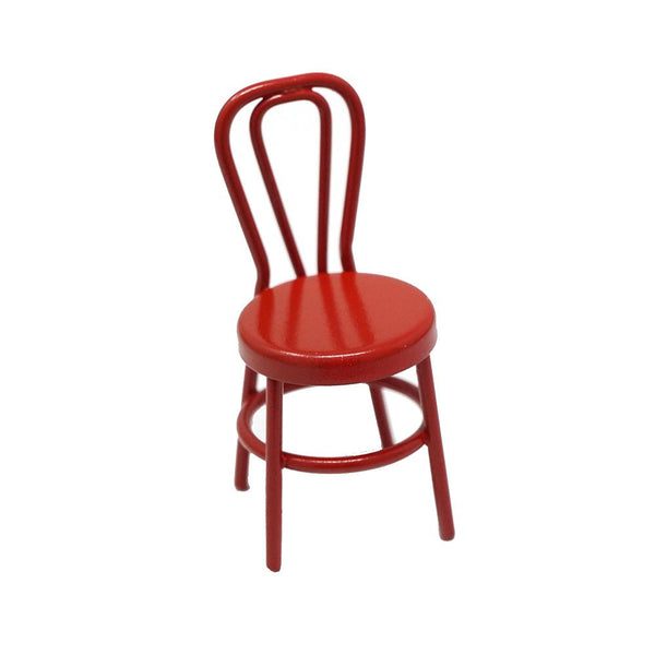 Miniature Metal Chair Figurine, Red, 2-3/16-Inch