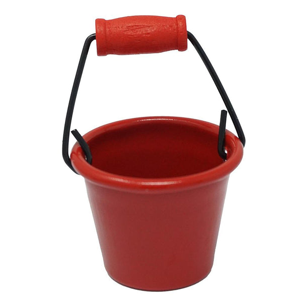 Miniature Metal Pail With Handle, Red, 1-1/2-Inch