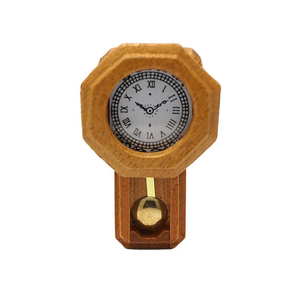 Miniature Wood Pendulum Wall Clock Figurine, Brown, 2-Inch