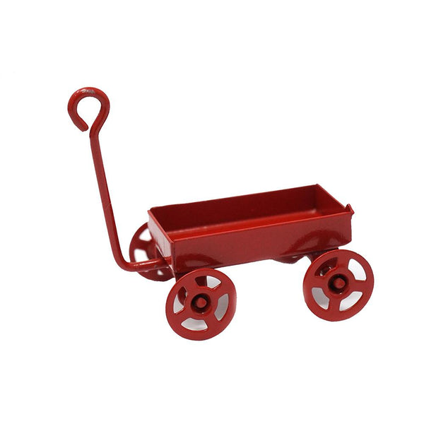 Miniature Toy Wagon Figurine, Red, 1-3/4-Inch