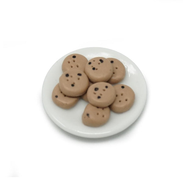 Miniature Chocolate Chip Cookie Plate Figurine, 1-1/16-Inch