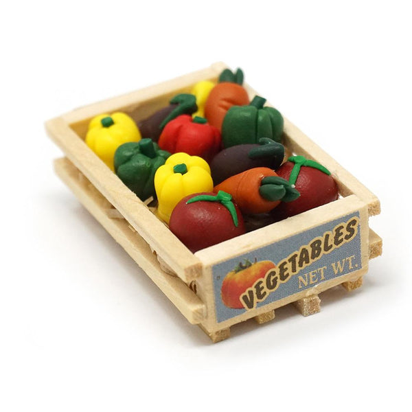 Miniature Wood Vegetable Crate Figurine, 1-1/2-Inch