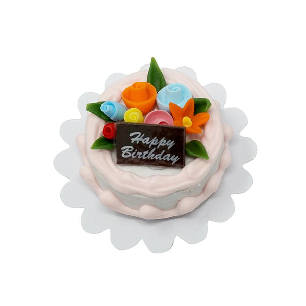 Miniature Artificial Happy Birthday Cake, 1-1/4-Inch