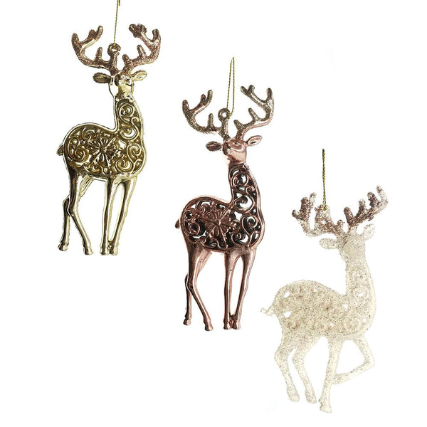 Christmas Shiny and Glitter Reindeer Ornaments, White/Champagne/Rose Gold, 5-1/2-Inch, 6-Piece