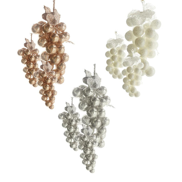 PVC Glittered Grape Cluster Ornaments, Ivory/Rose Gold,  Assorted Sizes, 9-Piece