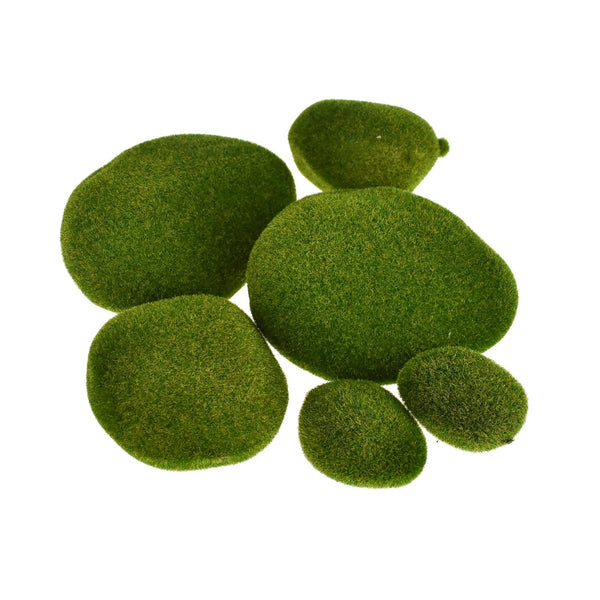 Artificial Moss Stones, Moss Green, Assorted, 6-Piece