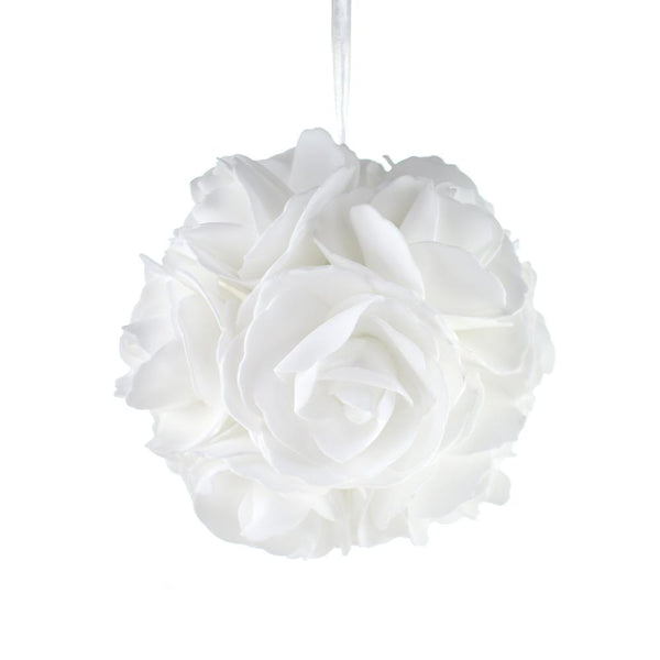 12 Pack, Soft Touch Rose Addie Ball Wedding Centerpiece, White, 6-Inch